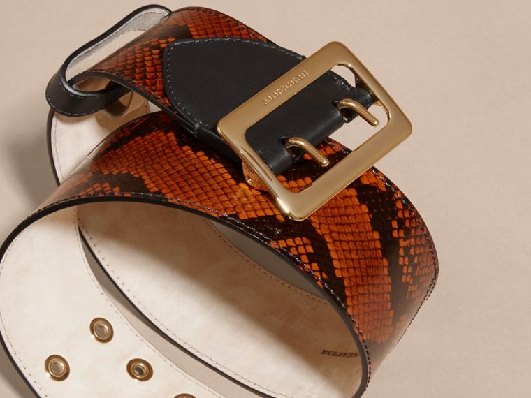 Tan Snakeskin Intarsia Waist Belt Tan - cell image 1
