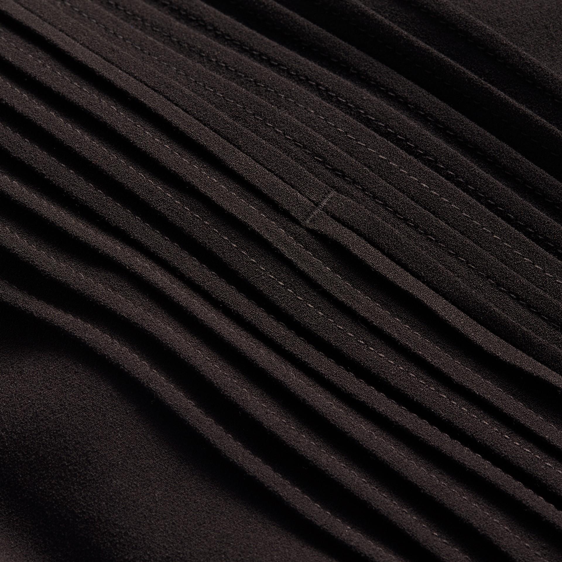 Sleeveless Ruffle Trim Crepe Dress - gallery image 2