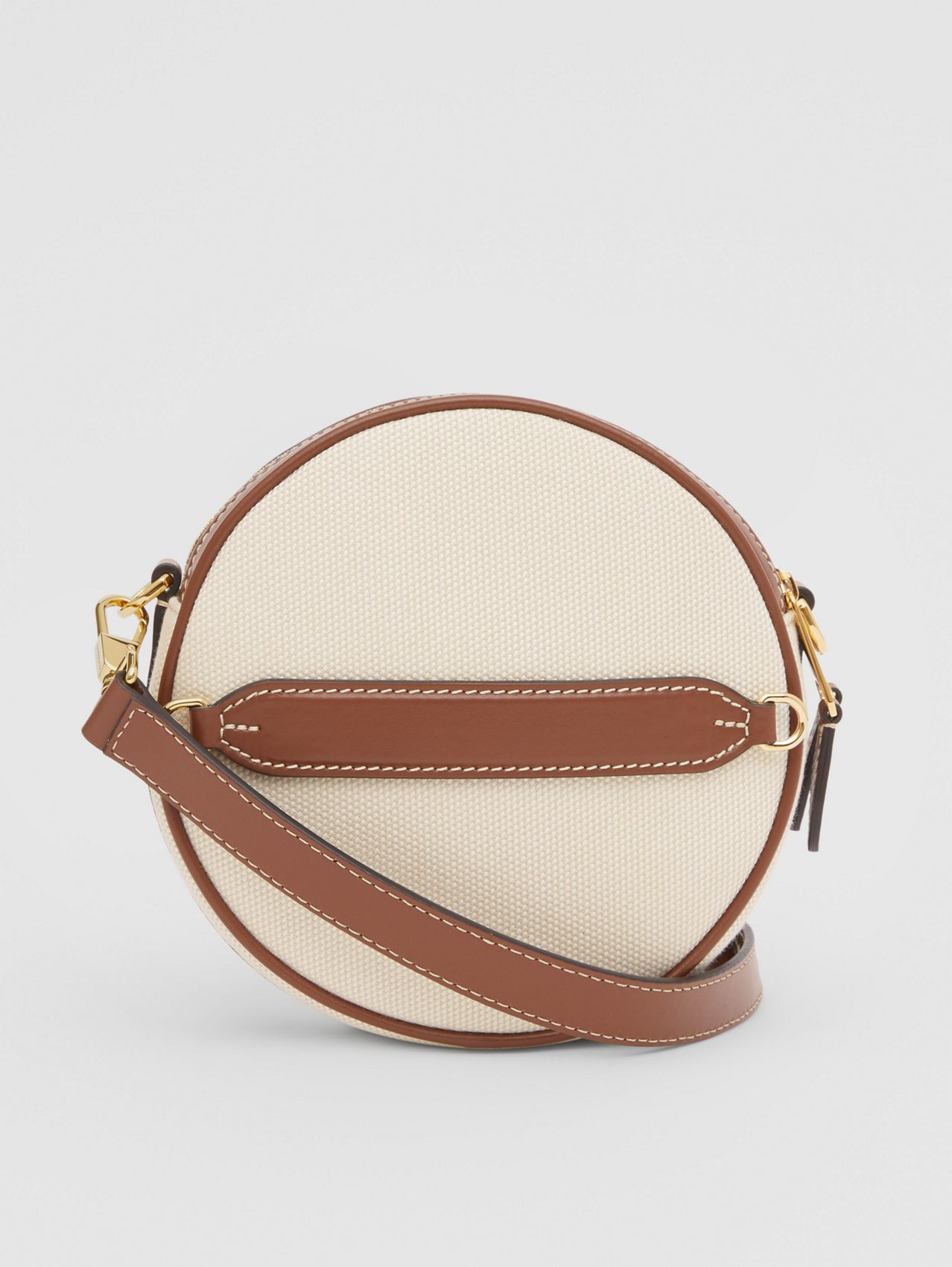 Logo Graphic Canvas and Leather Louise Bag in Natural
