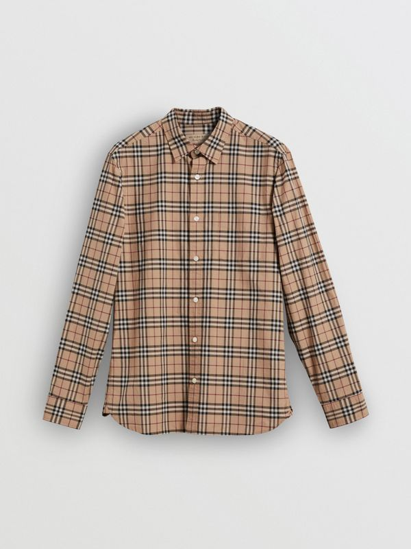 Check Cotton Shirt in Camel - Men | Burberry Australia - cell image 3
