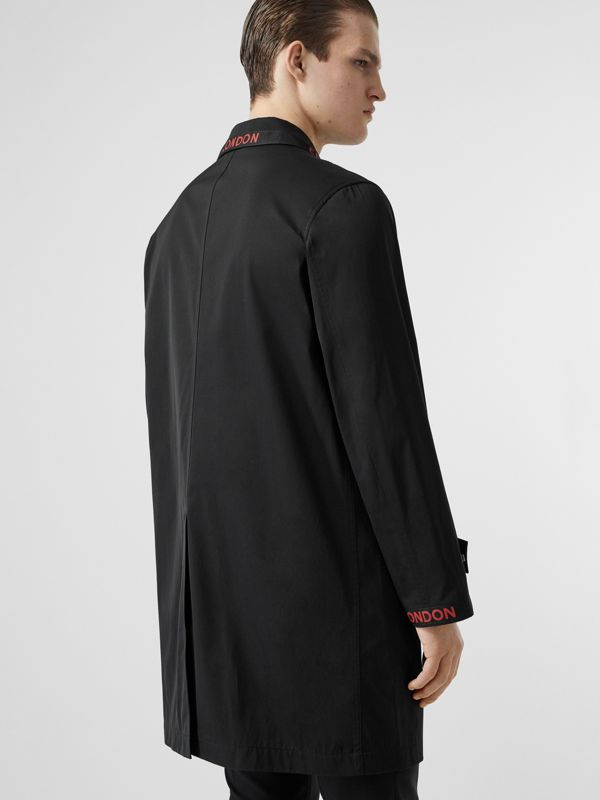 Logo Detail Technical Cotton Blend Car Coat in Black - Men | Burberry - cell image 2