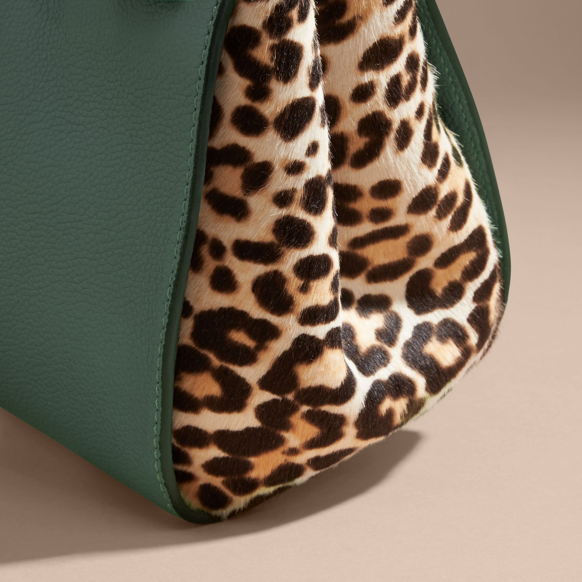 The Small Buckle Tote in Leather and  Leopard-print Calfskin in Eucalyptus Green - gallery image 7