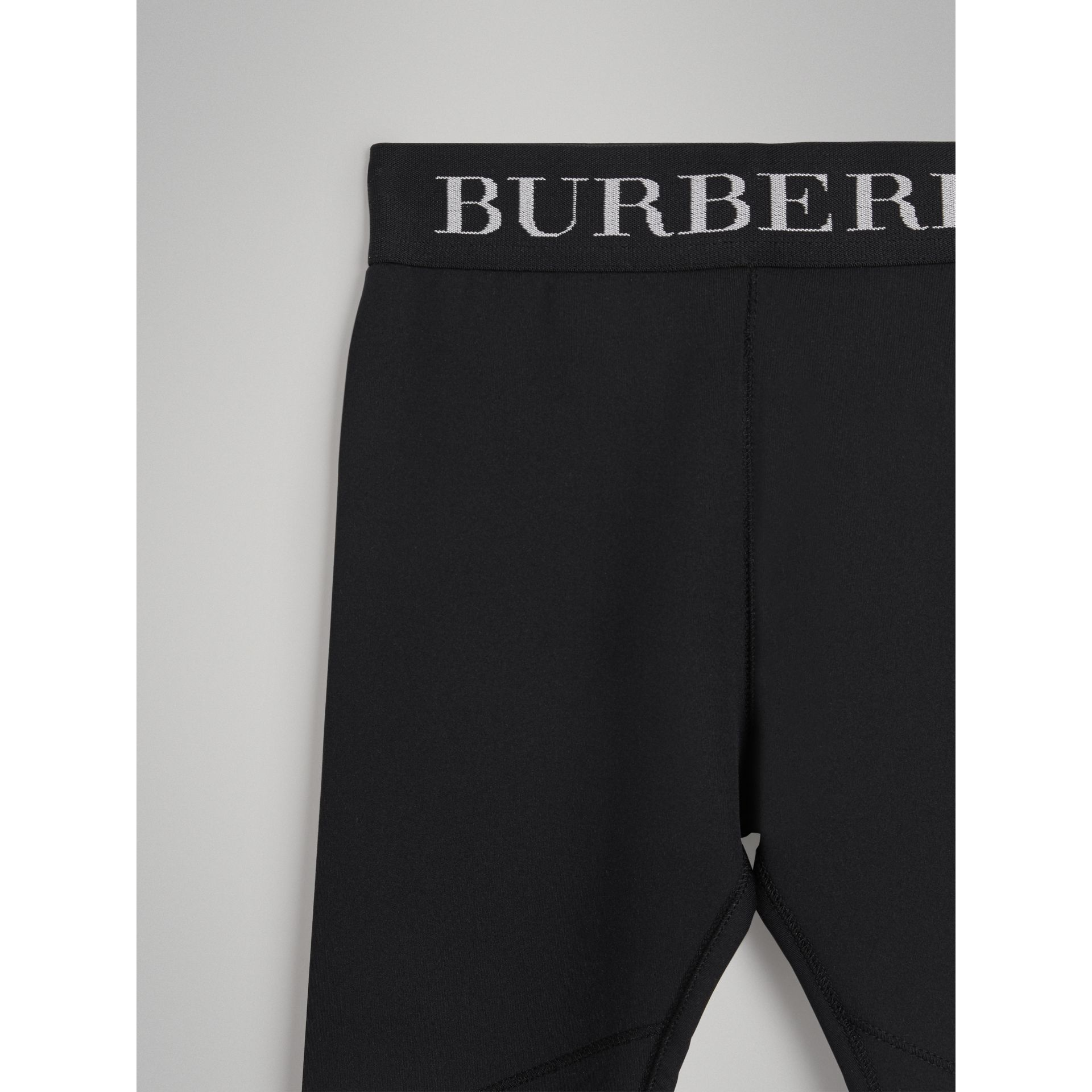 Logo Stretch Jersey Leggings in Black - Girl | Burberry - gallery image 4