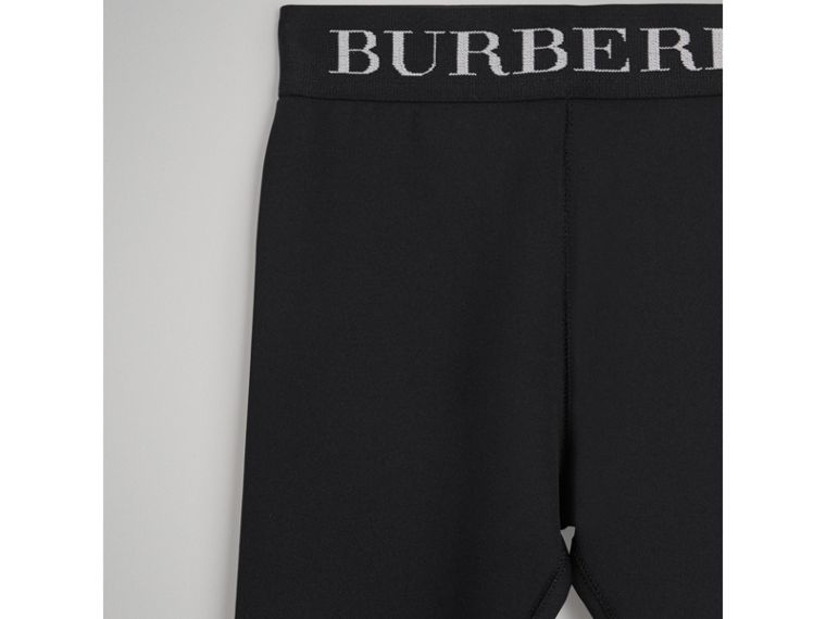 Logo Stretch Jersey Leggings in Black - Girl | Burberry - cell image 4