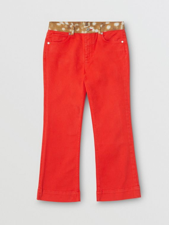 Flared Fit Deer Print Trim Japanese Denim Jeans in Bright Red