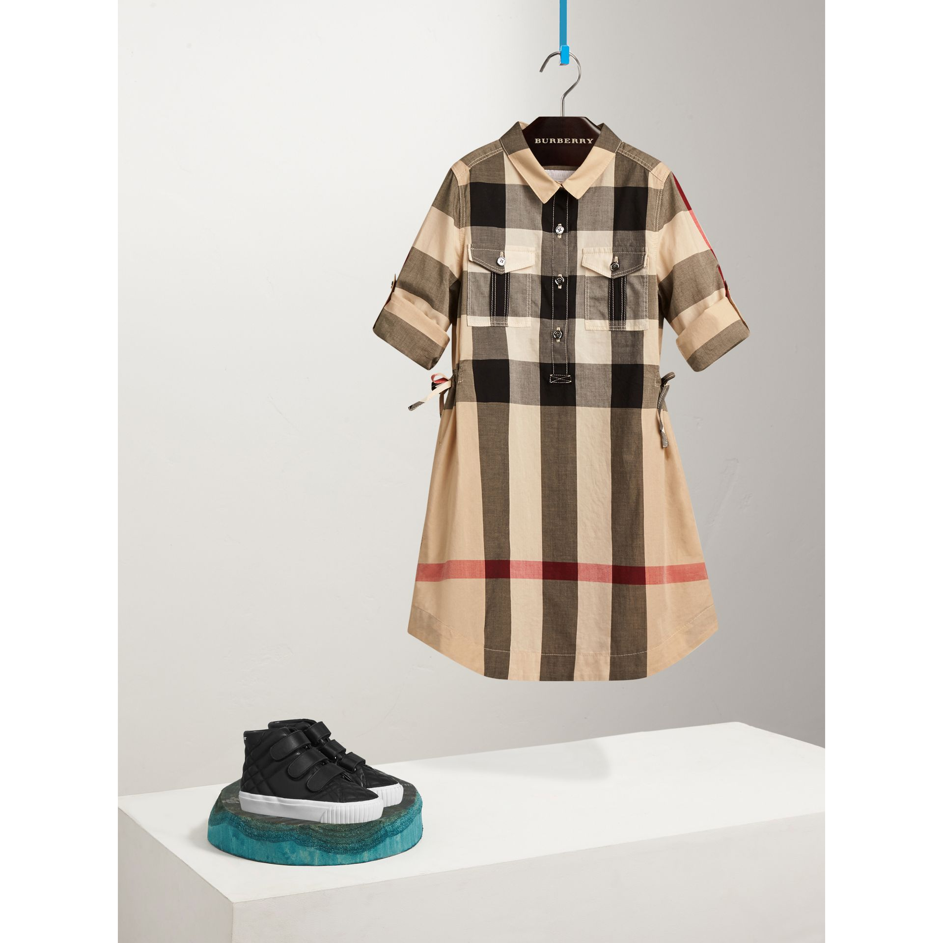 Check Cotton Shirt Dress in New Classic - Girl | Burberry - gallery image 0