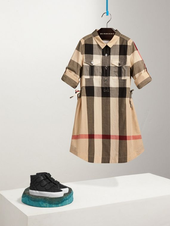 Check Cotton Shirt Dress in New Classic