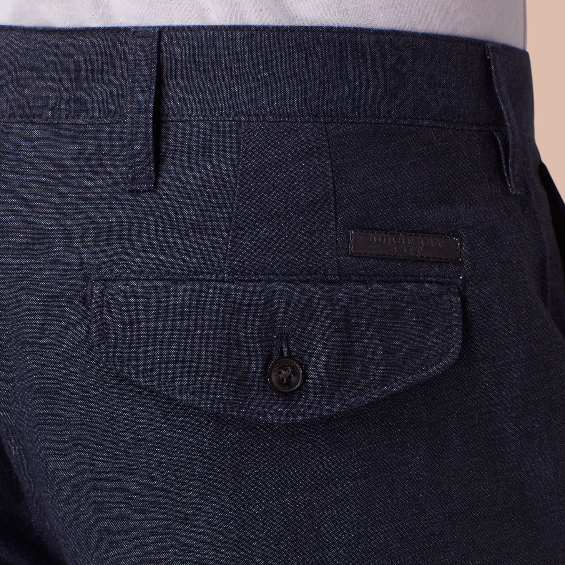 Navy Slim Fit Linen Cotton Trousers - gallery image 2