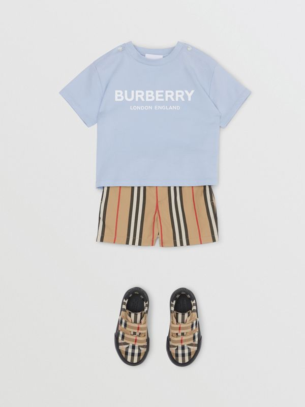 Logo Print Cotton T-shirt in Light Blue - Children | Burberry Canada - cell image 3