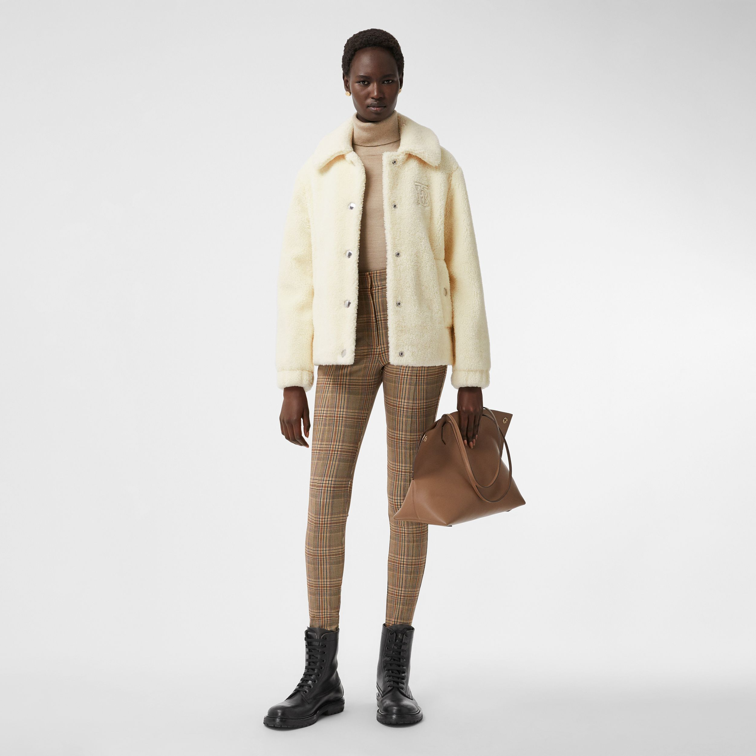 Monogram Motif Fleece Jacket in Ivory - Women | Burberry - 1