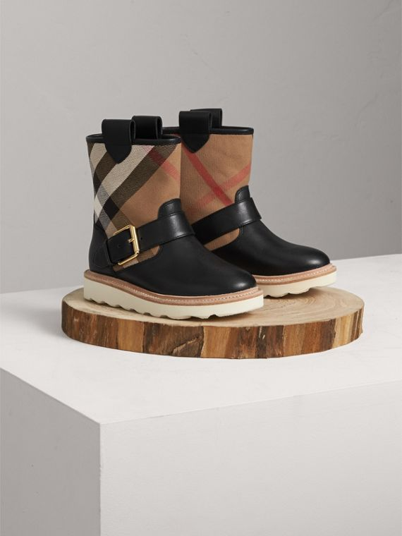 House Check and Leather Weather Boots in Classic