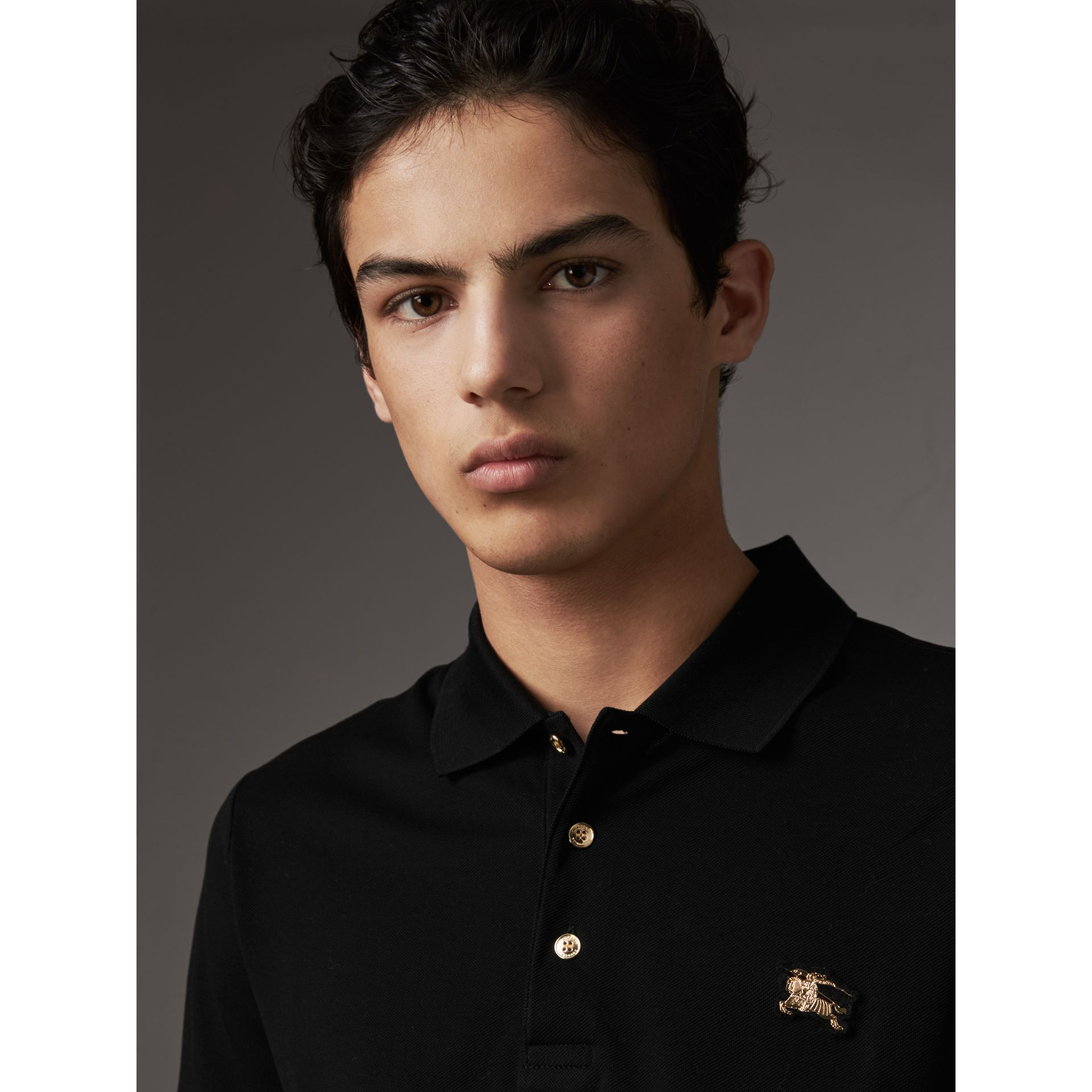 Cotton Piqué Polo Shirt in Black - Men | Burberry - gallery image 1
