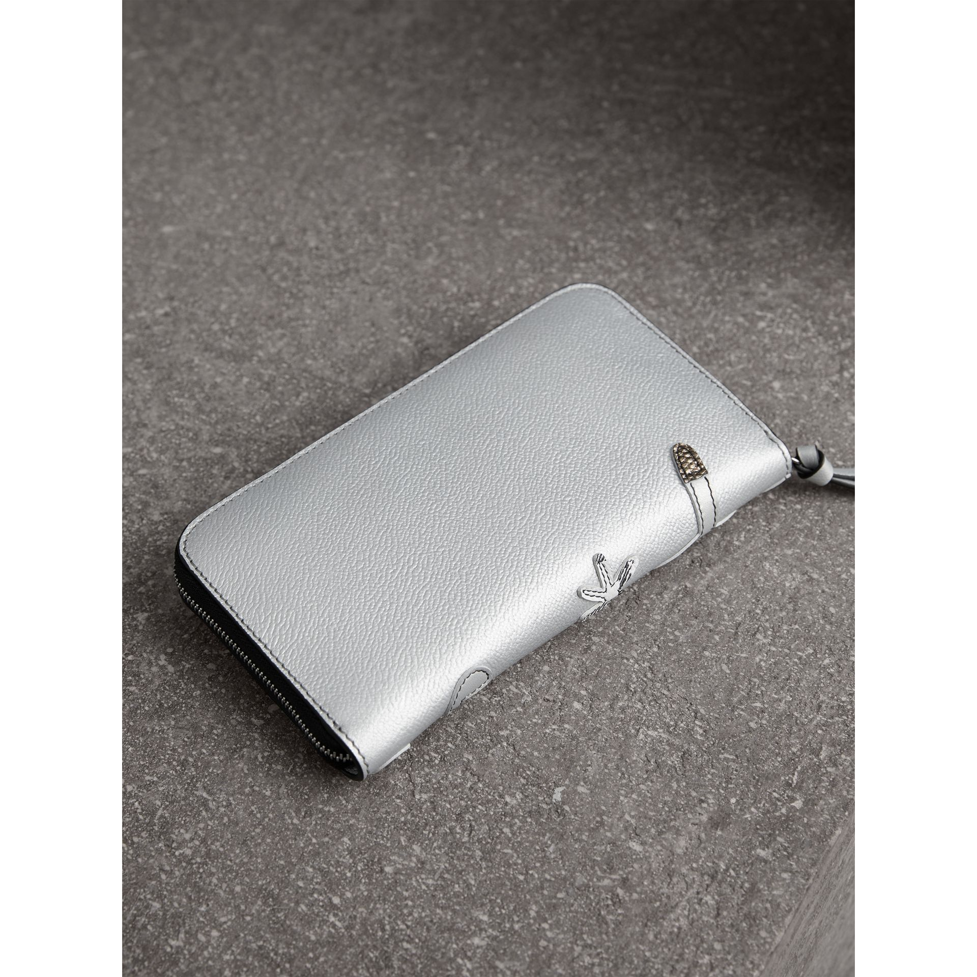 Creature Appliqué Metallic Leather Ziparound Wallet in Silver - Women | Burberry Australia - gallery image 2