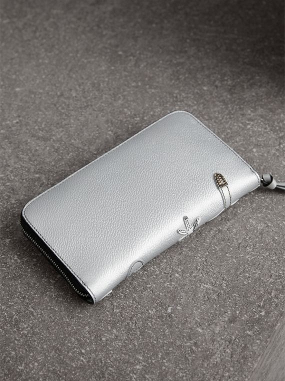 Creature Appliqué Metallic Leather Ziparound Wallet in Silver - Women | Burberry Australia - cell image 2