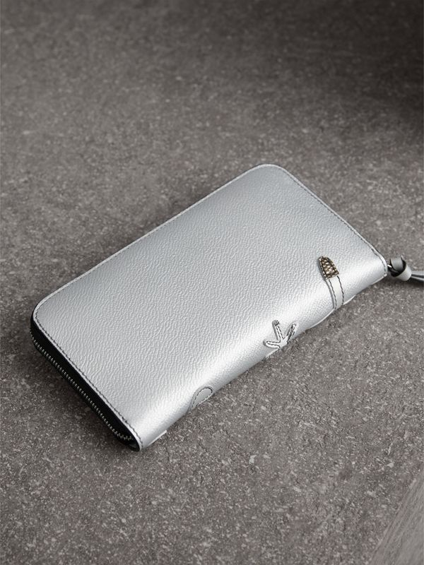 Creature Appliqué Metallic Leather Ziparound Wallet in Silver - Women | Burberry - cell image 2