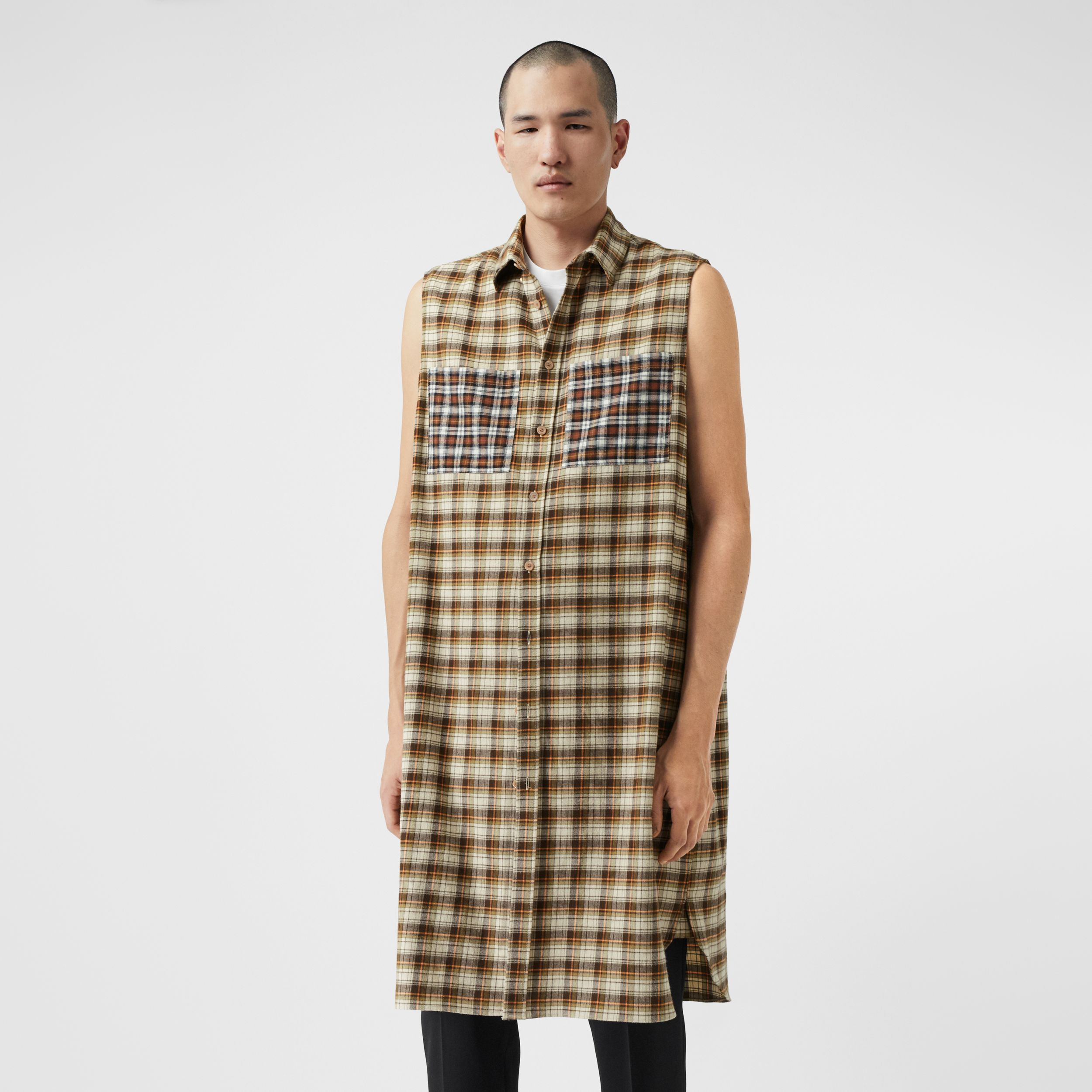 Sleeveless Check Cotton Flannel Tunic Shirt in Dark Olive | Burberry - 1