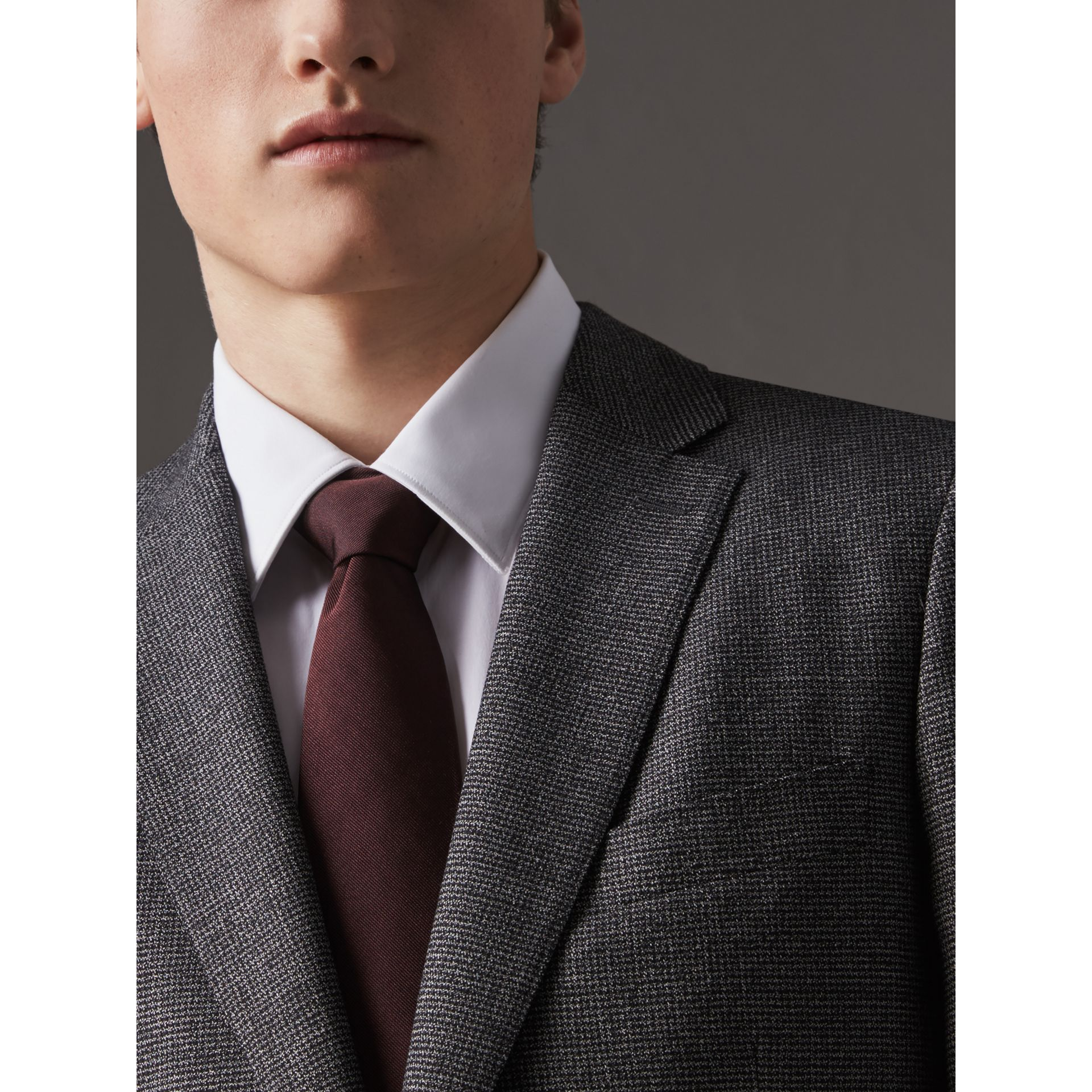 Modern Cut Silk Twill Tie in Deep Claret - Men | Burberry United Kingdom - gallery image 3