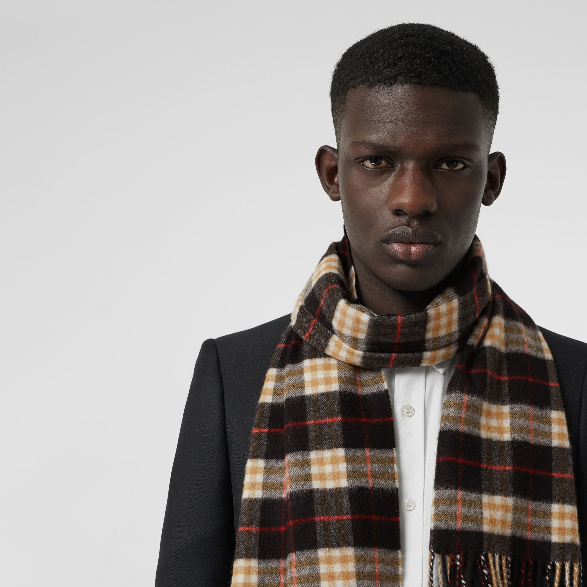 Check Cashmere Scarf in Black | Burberry Australia - gallery image 6