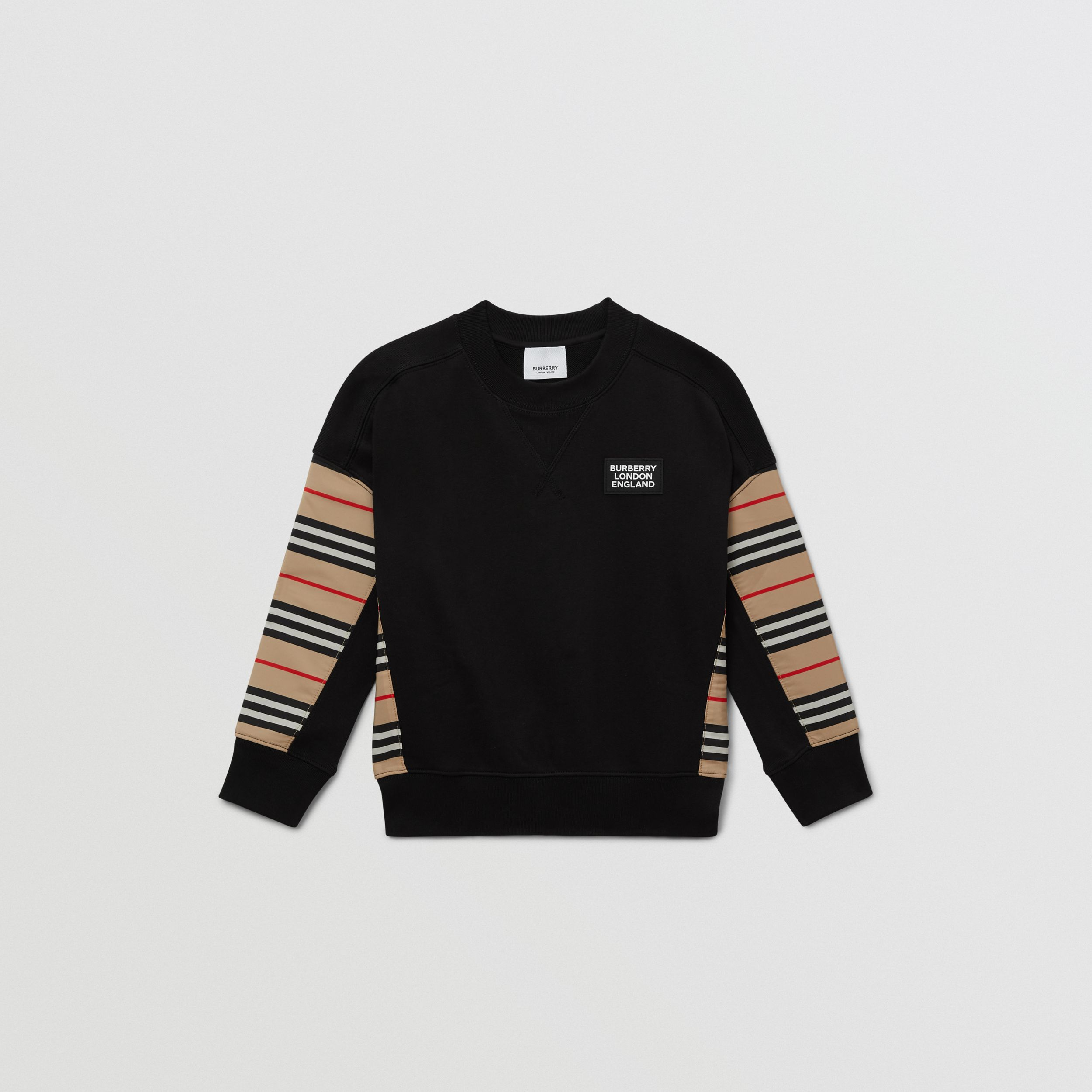 Icon Stripe Panel Cotton Sweatshirt | Burberry - 1
