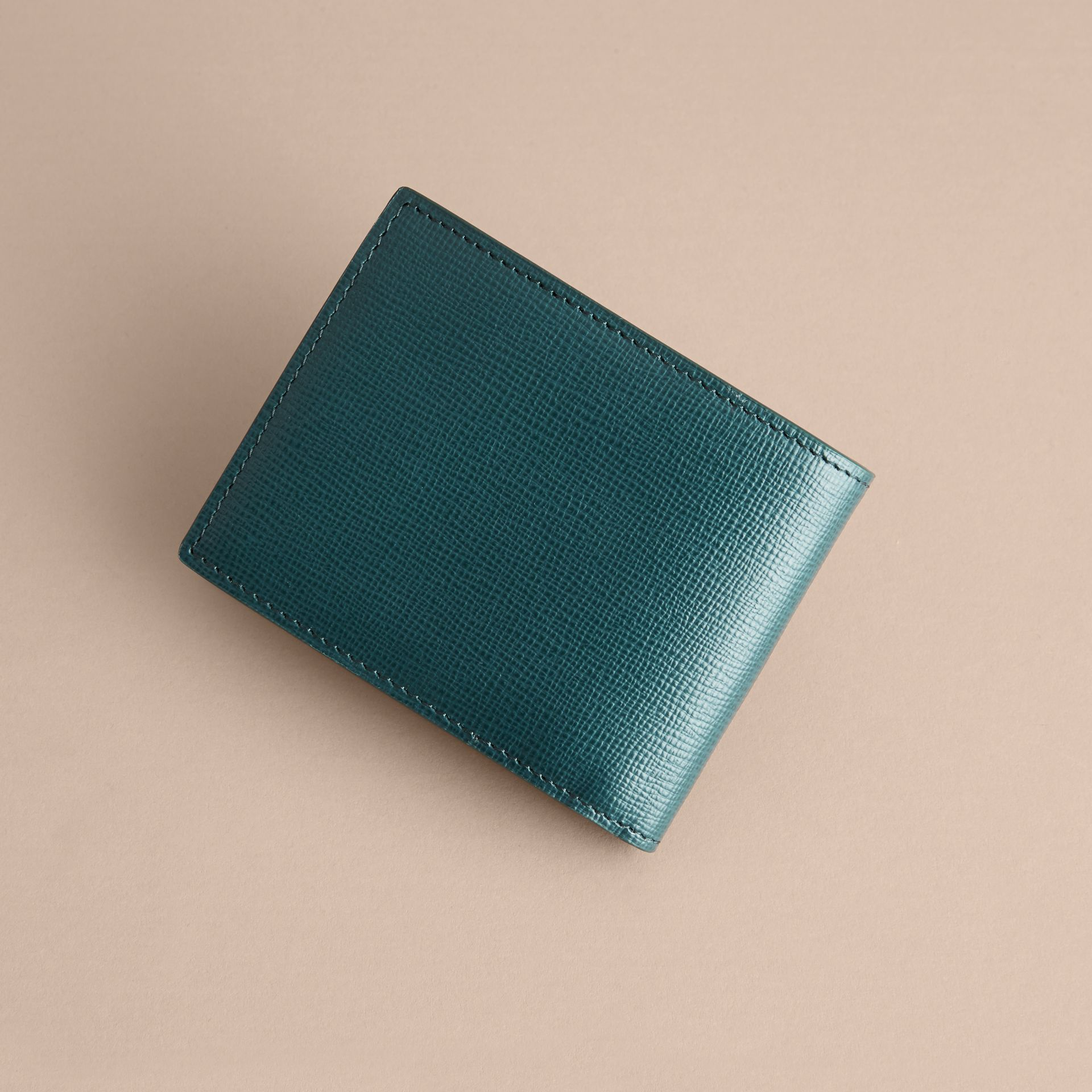 London Leather Bifold Wallet in Dark Teal | Burberry United Kingdom - gallery image 4