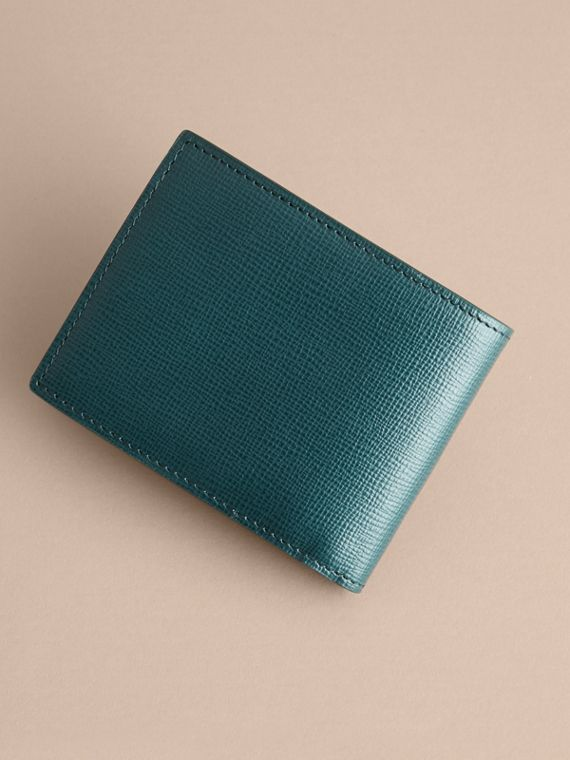 London Leather Bifold Wallet in Dark Teal | Burberry United Kingdom - cell image 3