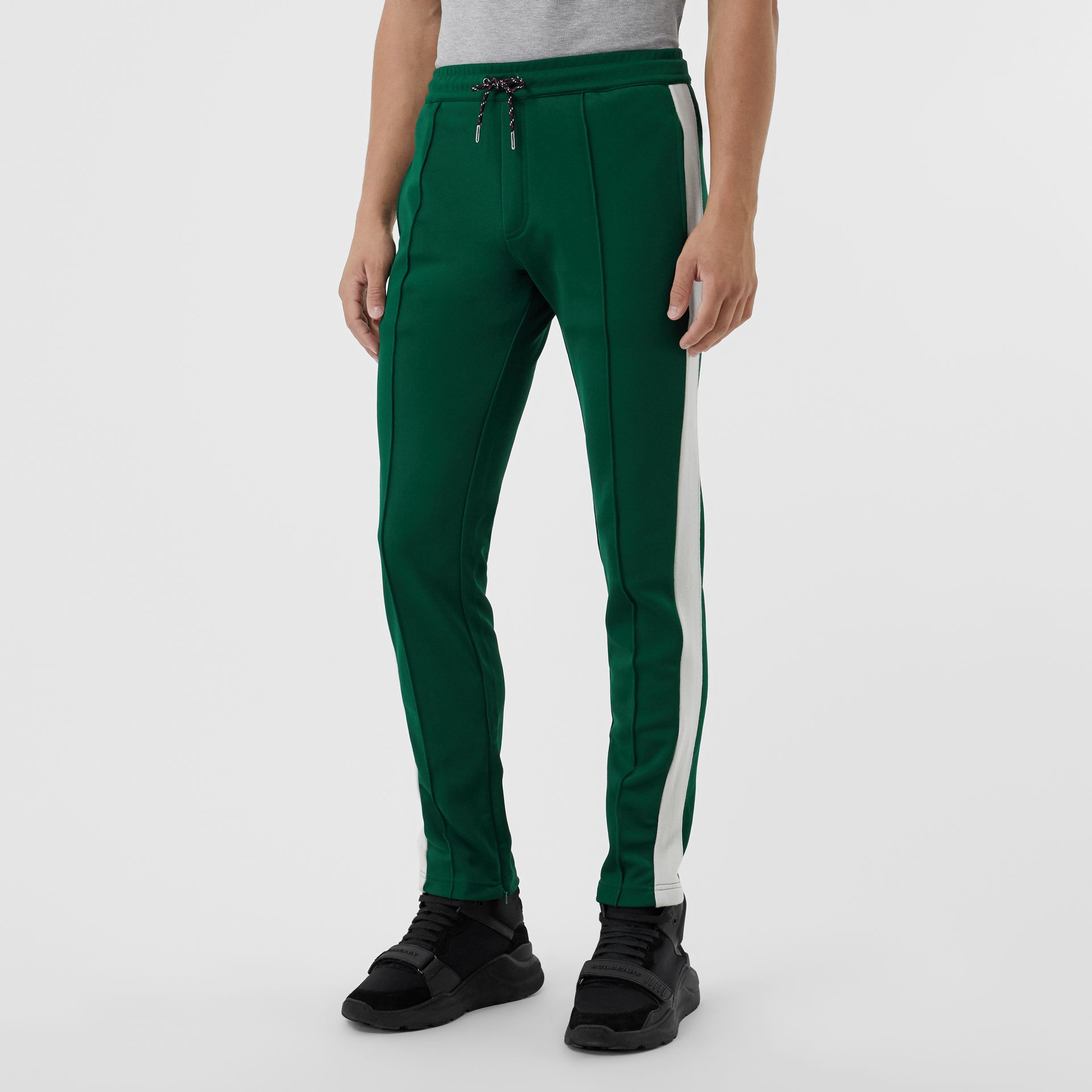 Sport Stripe Cotton Blend Drawcord Trousers in Opal Green - Men | Burberry Singapore - gallery image 4