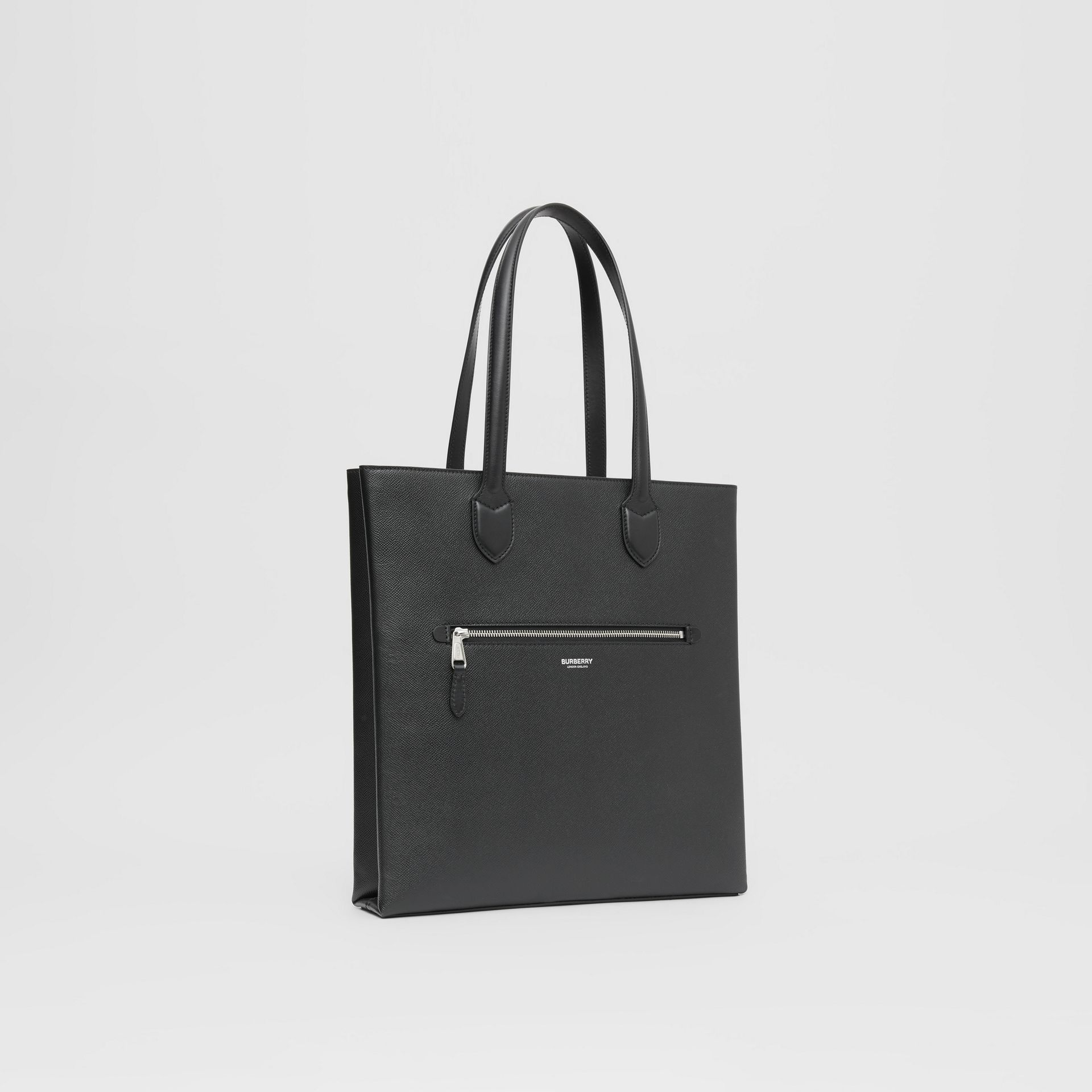 Medium Grainy Leather Tote in Black - Men | Burberry - gallery image 6