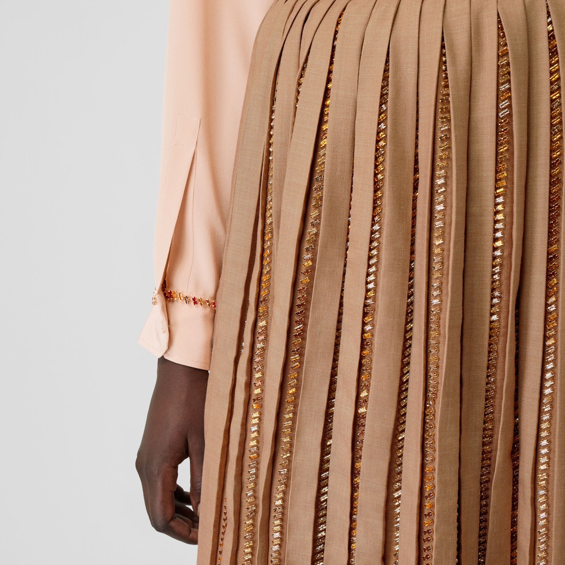 Crystal Detail Plissé Soleil Wool Silk Blend Skirt in Biscuit - Women | Burberry - gallery image 1