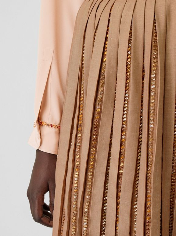 Crystal Detail Plissé Soleil Wool Silk Blend Skirt in Biscuit - Women | Burberry - cell image 1
