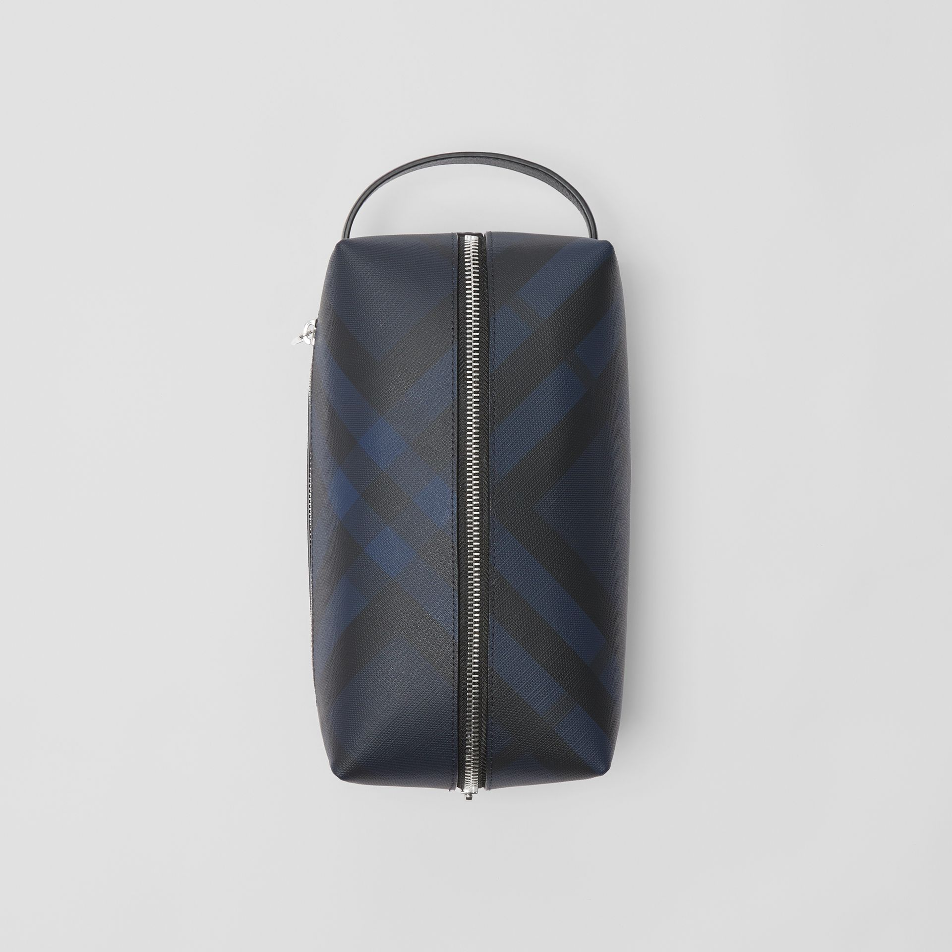 London Check and Leather Pouch in Navy/black - Men | Burberry - gallery image 0