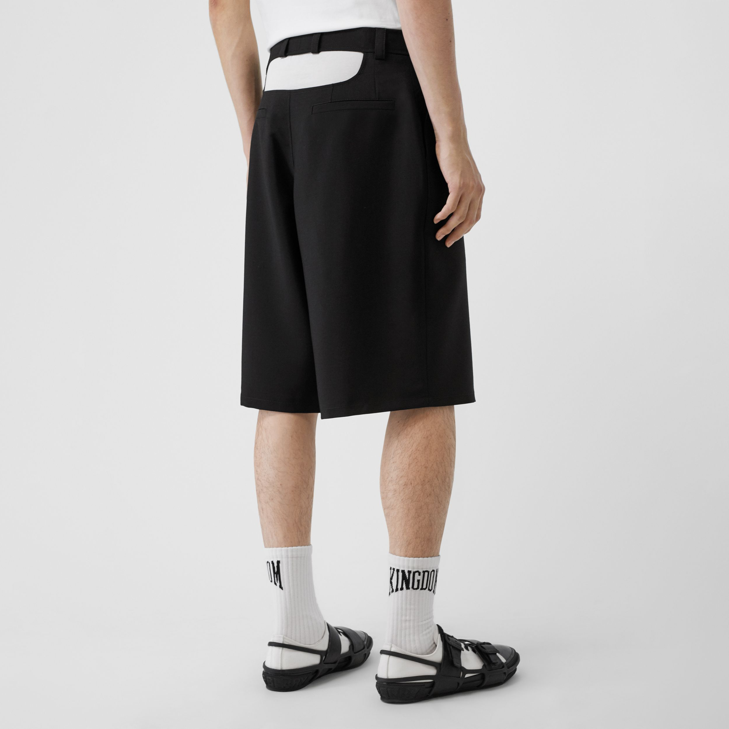 Cut-out Back Mohair Wool Tailored Shorts in Black - Men | Burberry Singapore - 3