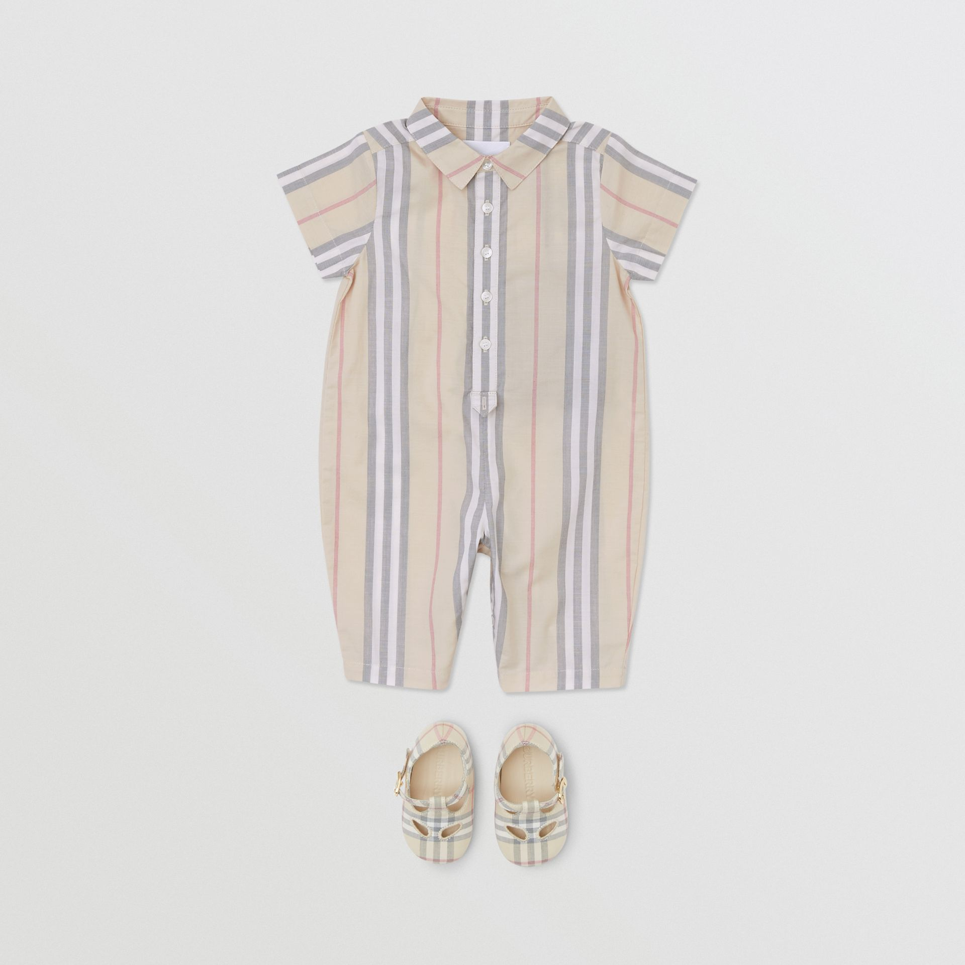 Icon Stripe Cotton Jumpsuit in Pale Stone - Children | Burberry - gallery image 2