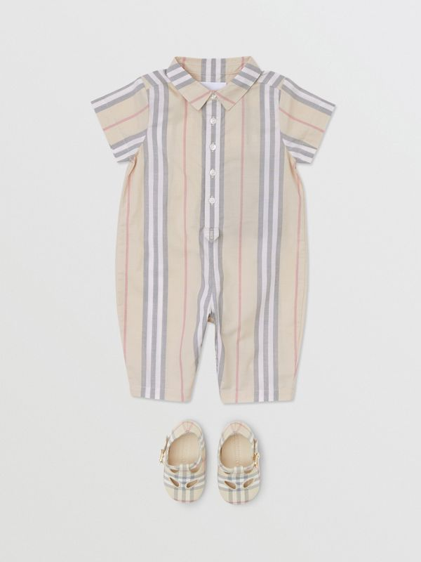 Icon Stripe Cotton Jumpsuit in Pale Stone - Children | Burberry - cell image 2