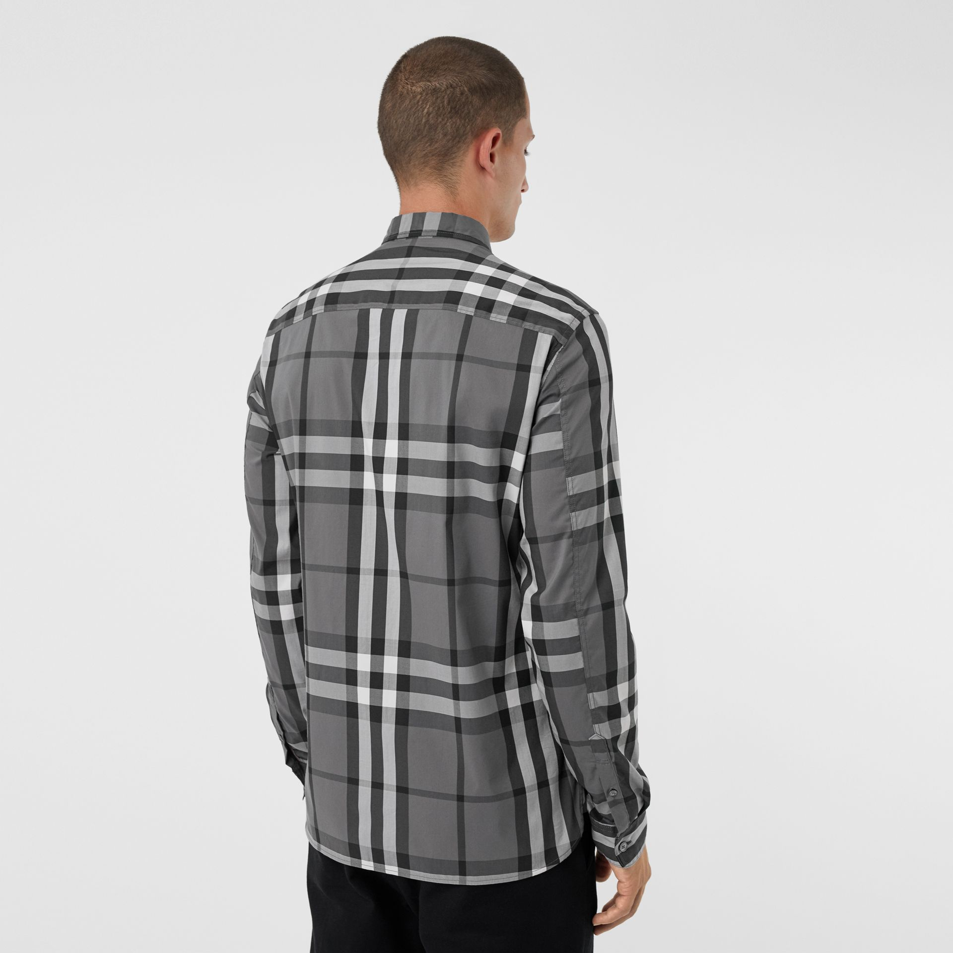Check Stretch Cotton Shirt in Charcoal - Men | Burberry Singapore - gallery image 2