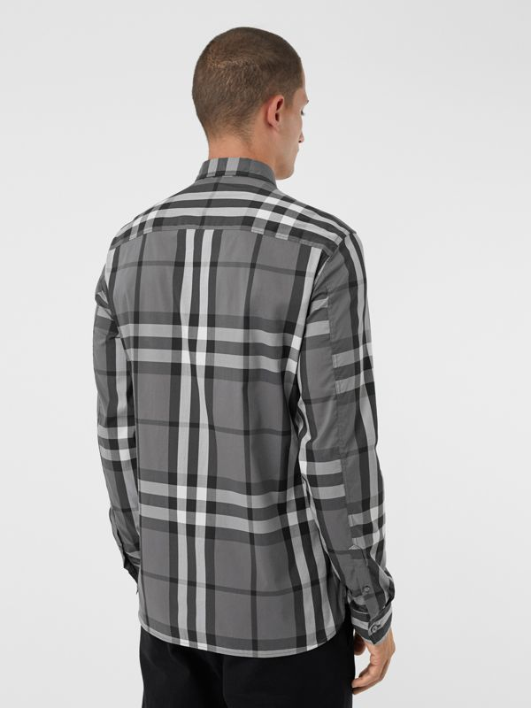 Check Stretch Cotton Shirt in Charcoal - Men | Burberry - cell image 2