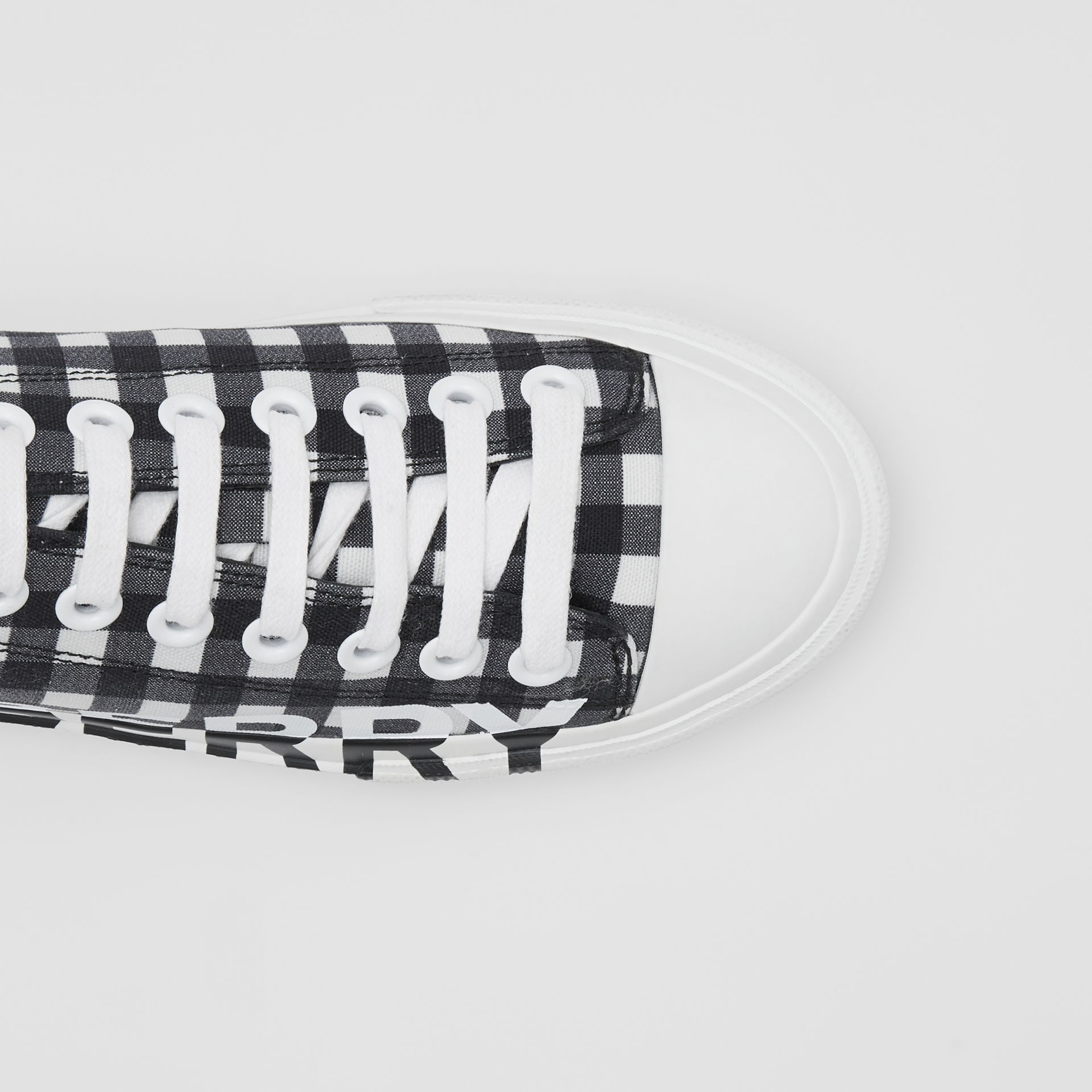 Logo Print Gingham Cotton Sneakers in Black/white - Women | Burberry - gallery image 5