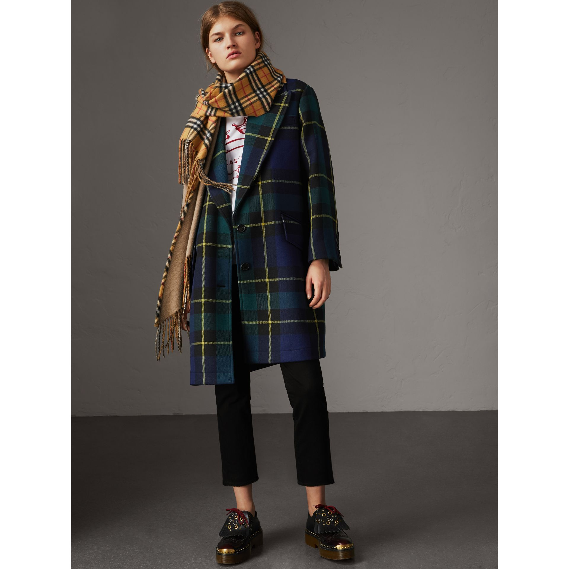 Lightweight Tartan Wool Tailored Coat in Pine Green - Women | Burberry - gallery image 0