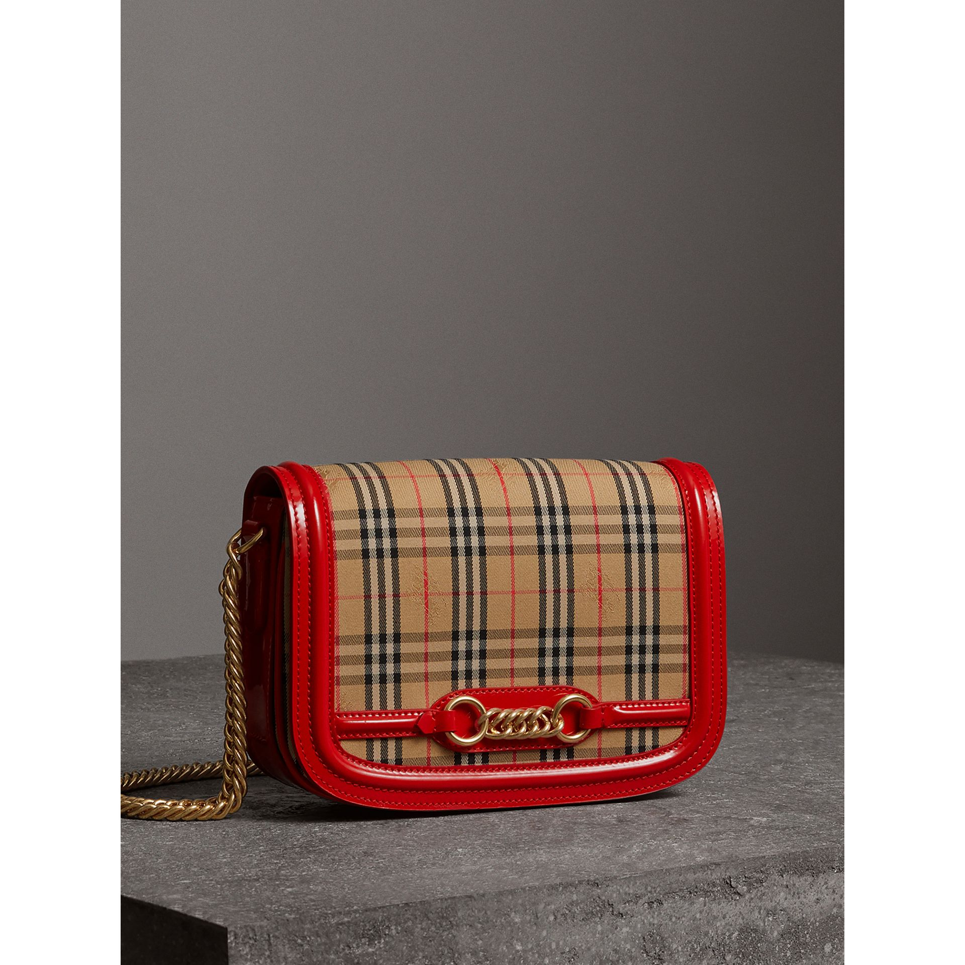 The 1983 Check Link Bag with Patent Trim in Bright Red - Women | Burberry United States - gallery image 7