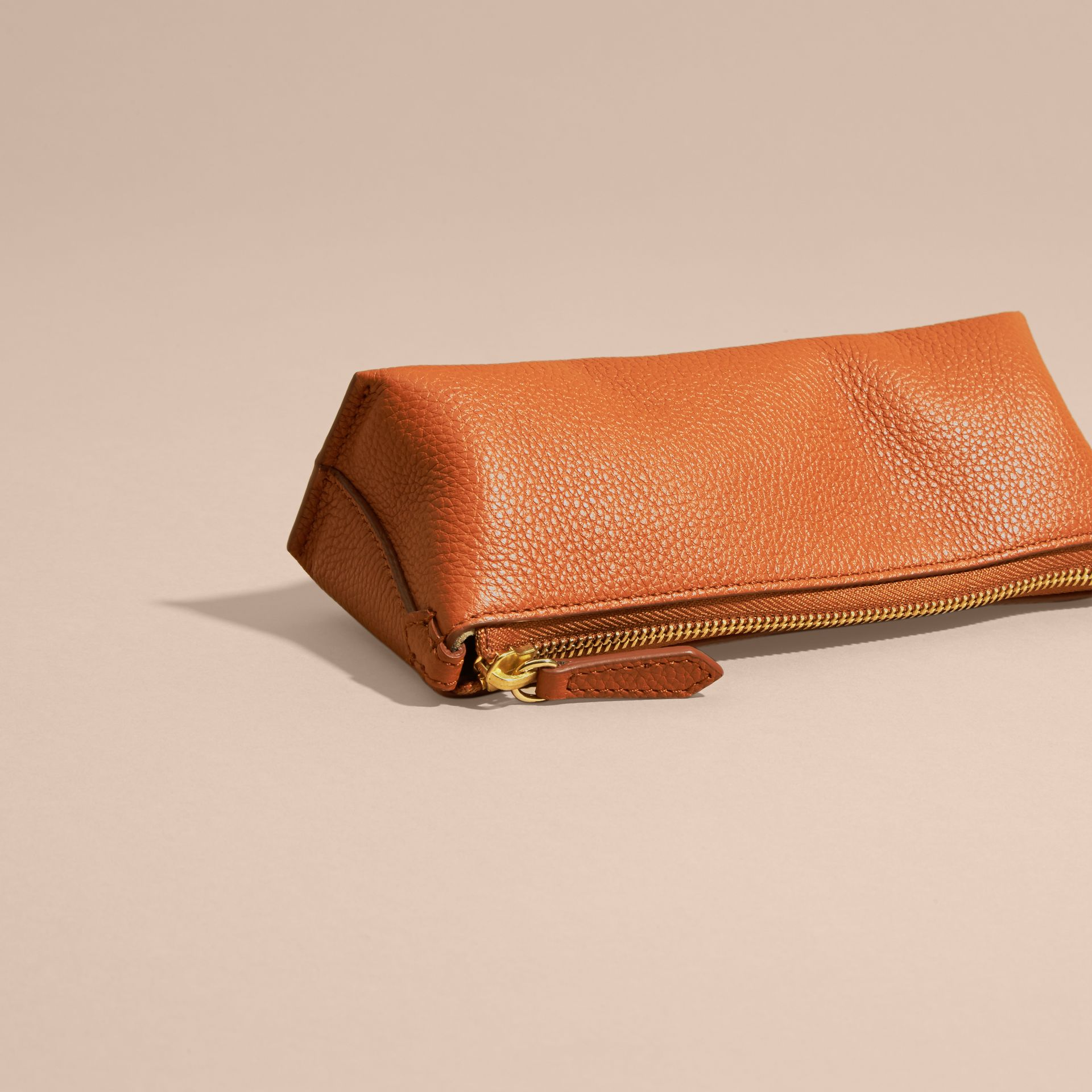 Orange umber Small Grainy Leather Digital Accessory Pouch - gallery image 4