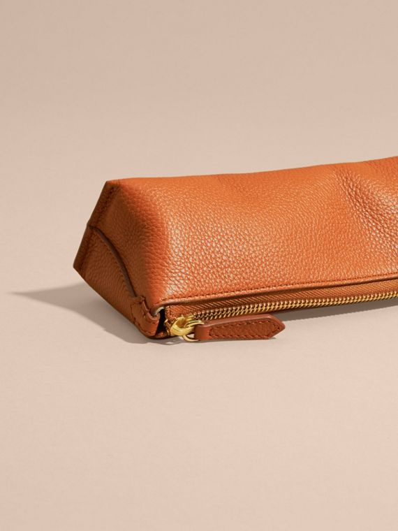 Orange umber Small Grainy Leather Digital Accessory Pouch - cell image 3