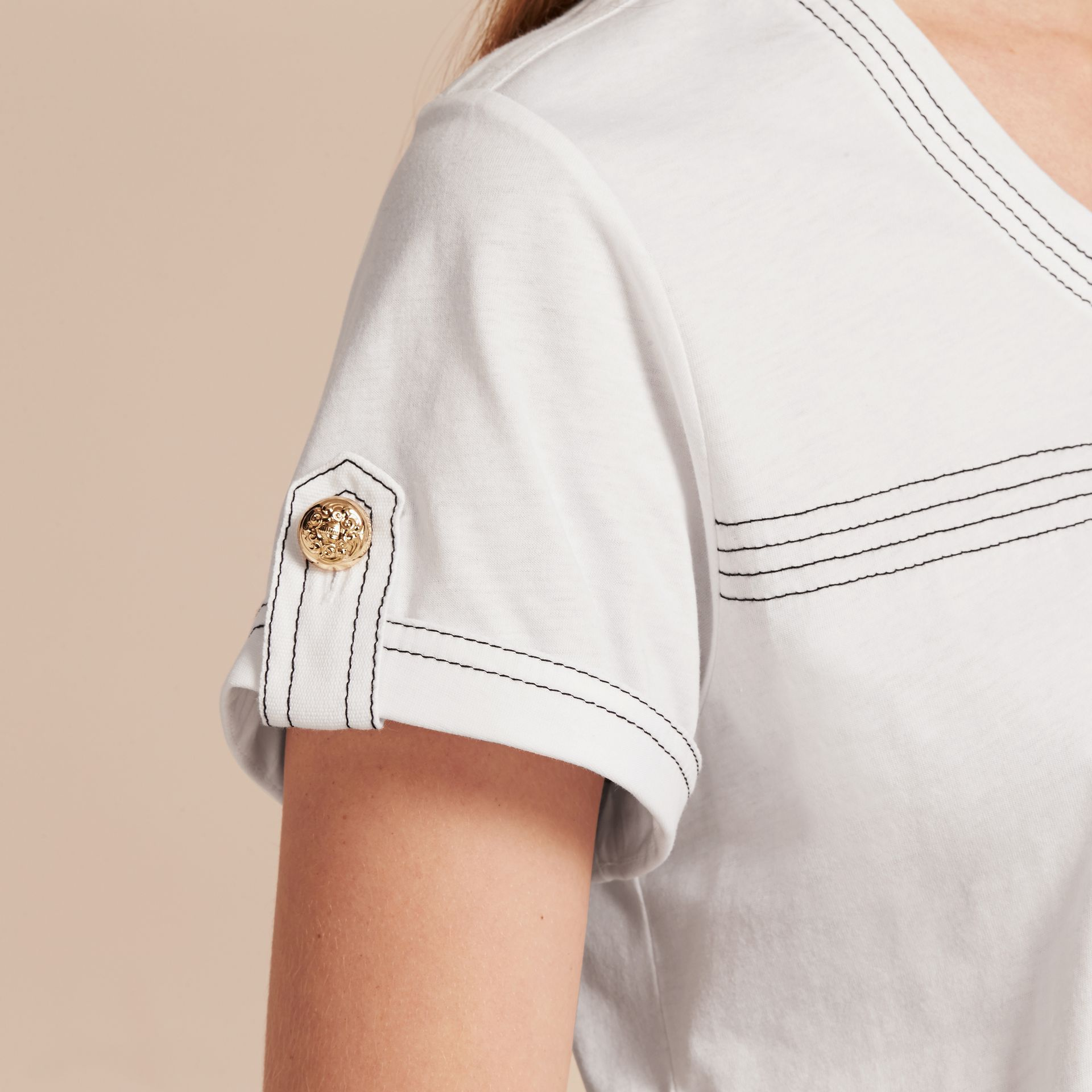 White Topstitch Detail Cotton T-shirt White - gallery image 5
