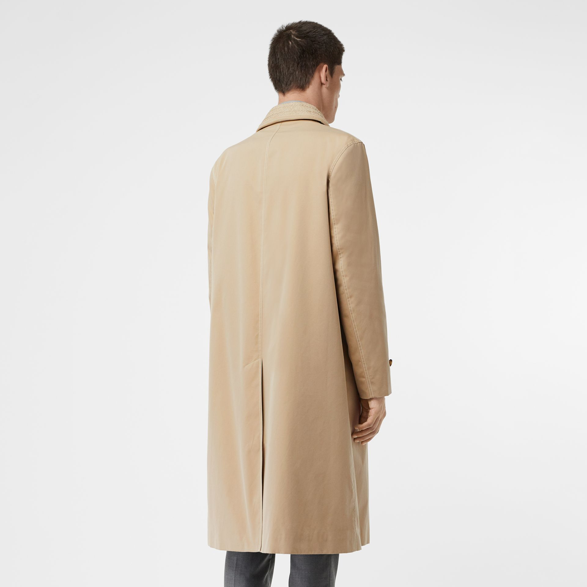Linen Collar Button Panel Cotton Car Coat in Honey | Burberry - gallery image 2