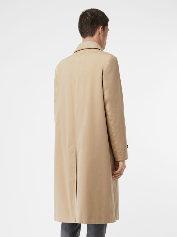 Linen Collar Button Panel Cotton Car Coat in Honey | Burberry Australia - cell image 2