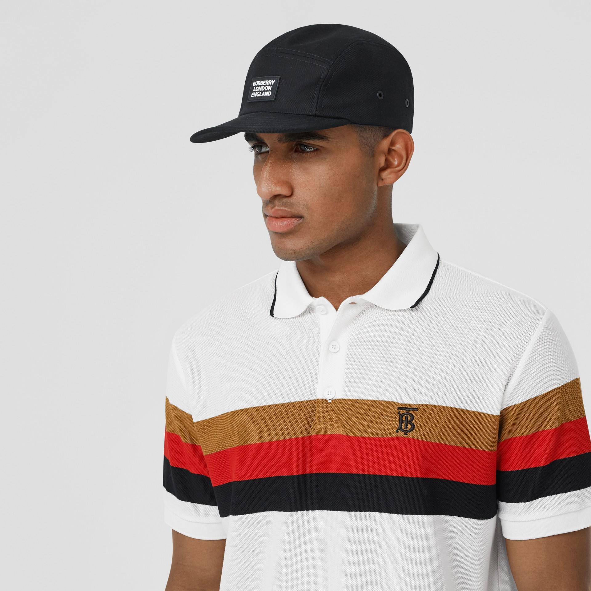 Monogram Motif Striped Cotton Polo Shirt in White - Men | Burberry - gallery image 1