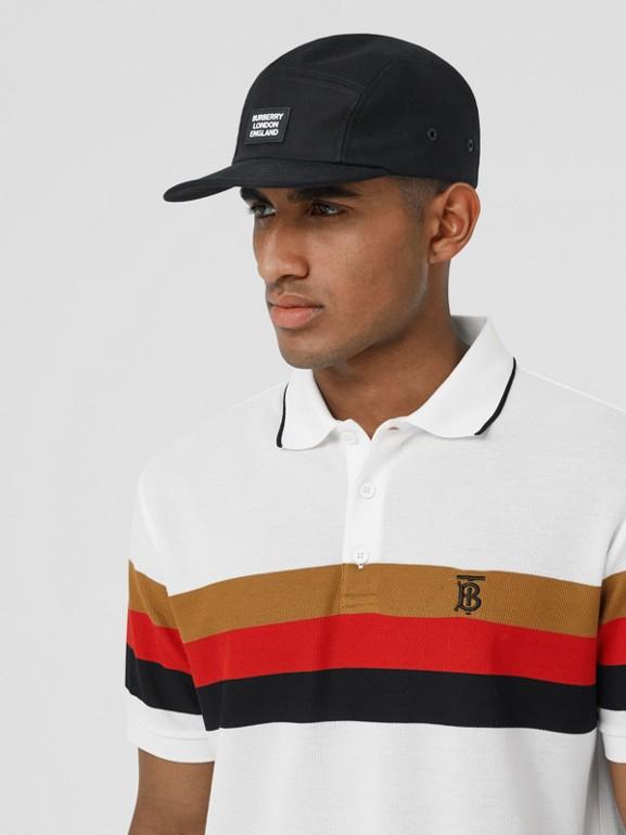 Monogram Motif Striped Cotton Polo Shirt in White - Men | Burberry - cell image 1