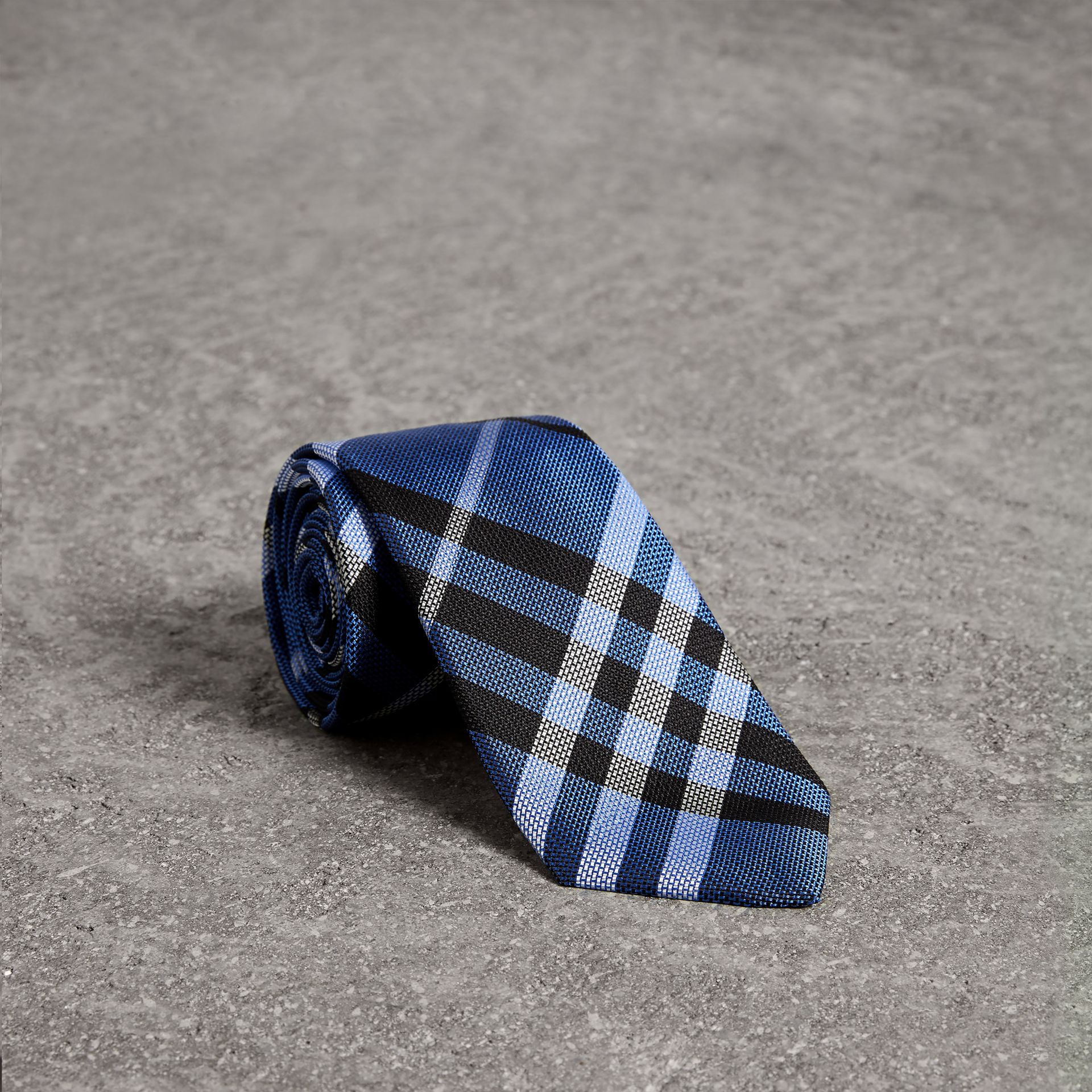 Modern Cut Check Silk Tie in Porcelain Blue - Men | Burberry - gallery image 0