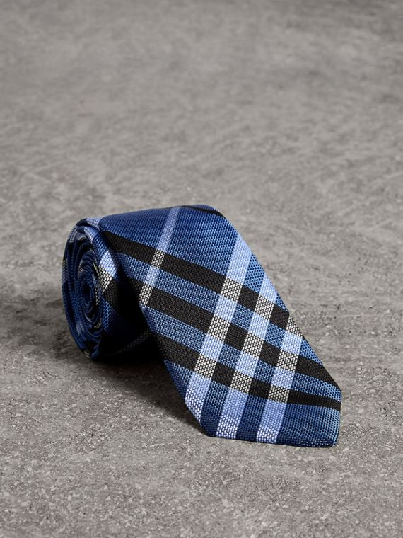 Modern Cut Check Silk Tie in Porcelain Blue