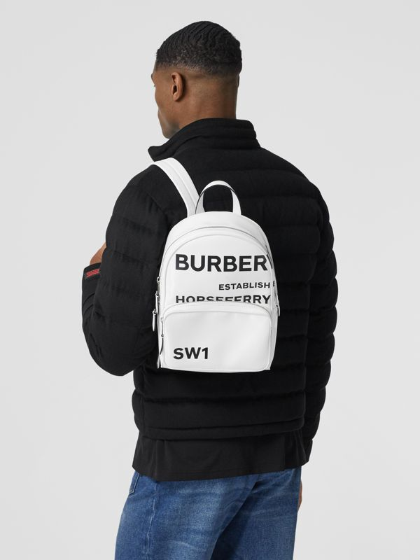Horseferry Print Coated Canvas Backpack in White | Burberry - cell image 3