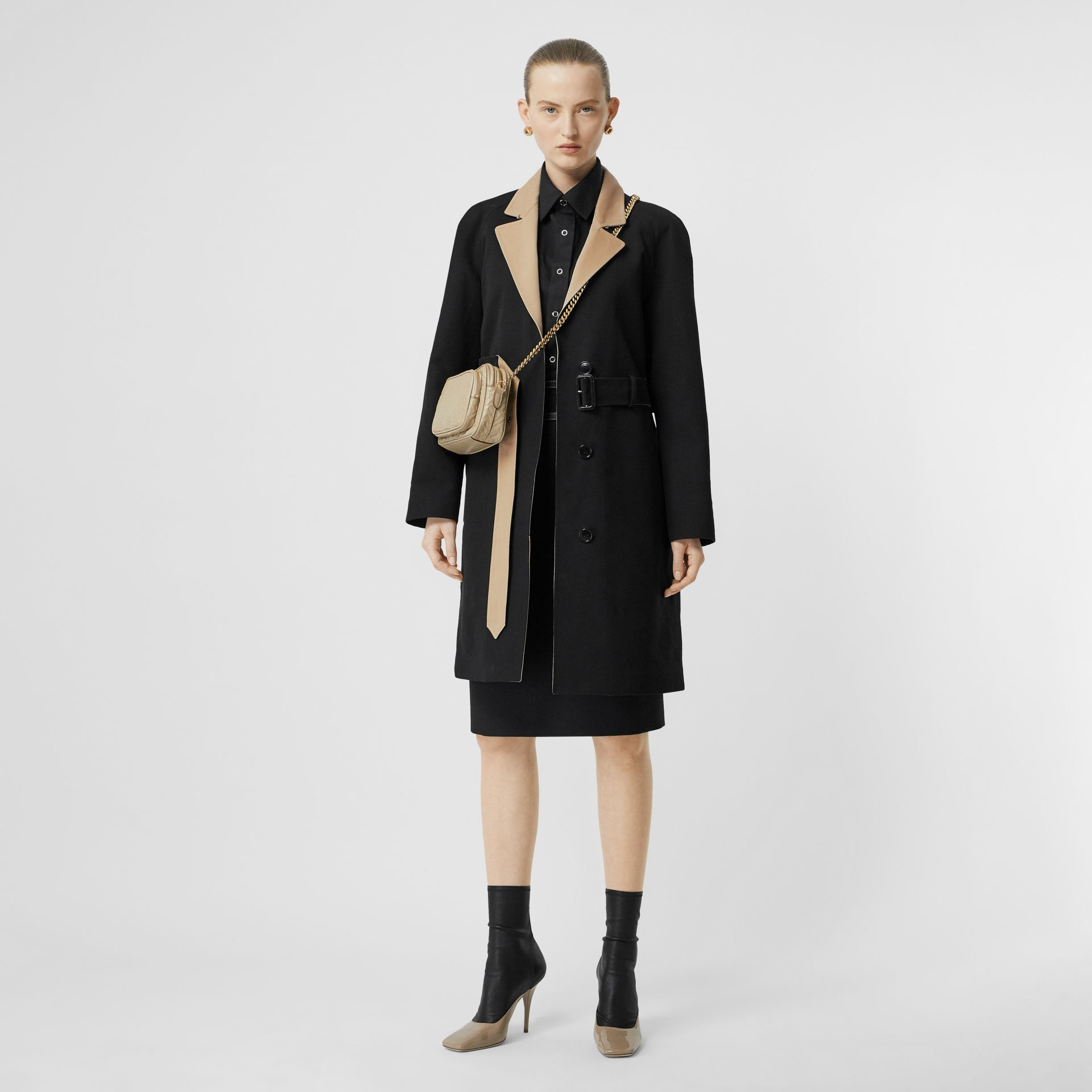 Two-tone Tropical Gabardine Belted Car Coat in Black/honey - Women | Burberry - gallery image 0