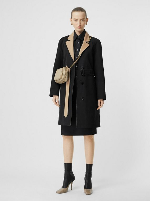 Two-tone Tropical Gabardine Belted Car Coat in Black/honey